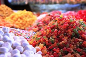 piles of various types of candy