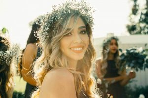 smiling young woman at her wedding